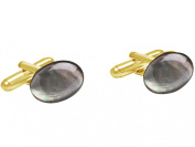 Gemshine - Cufflinks - 18k gold plated - Black Mother of Pearl - 16mm - Grey