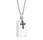 Hoxton London Men's Sterling Silver Black Sapphire Set Cross and Dog Tag Adjustable Necklace 45-51 cm