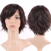 S-noilite Vogue Women Ladies Short Wig Natural Layered Wavy Cury Kanekalon Hair Dark Brown Full Wig