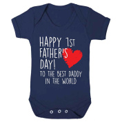 Navy Blue Happy 1st Father's Day To The Best Daddy In The World Baby Vest