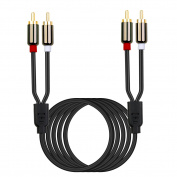 Bolongking 2 RCA Cable, 2RCA Male to 2RCA Male Stereo Audio Cable Gold Plated for Home Theatre, HDTV, Gaming Consoles, Hi-Fi Systems