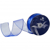 Royal Blue Organza Wired Sheer Ribbon 7cm (#40) For Floral & Craft Decoration, 50 Yard Roll (46m Spool) Bulk By Royal Imports