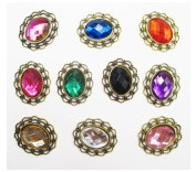 ALL in ONE 10pcs Mixed Colour Oval Shape Vintage Rhinestone Button Embellishments