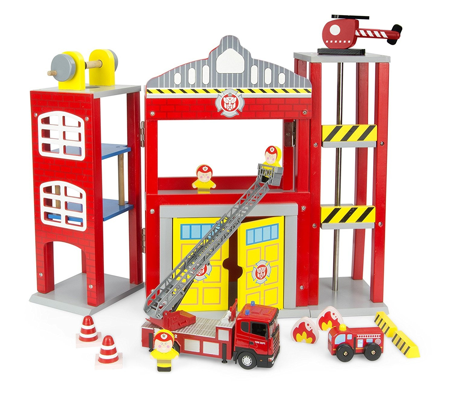Wooden Fire Station Play Set Fire Engine Accessories Wooden Firefighters Helicopter Moving Rotary Elevator