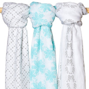 Muslin Baby Swaddle Blankets - ( 3 Pack,Floral ,Polka Dot ,Leaf Print ) Large 120cm x 120cm - Premium Bamboo Cotton Swaddle Blanket Set - Perfect Baby Girl or Baby Boy Blanket