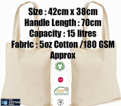 10 x Natural 150ml Cotton Shopping Tote Bags - Shoppers - ideal for Printing or Fabric Painting
