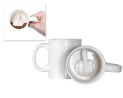 DSstyles 350ml Ceramic Middle Finger Coffee Cup, Funny Coffee Mug Tea Cup with Middle Finger - White