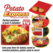 (2 Pack ) Microwave Potato Cooker Bag- Potato Express Pouch, Perfect Potatoes Just in 4 Minutes!- Red