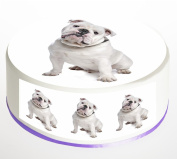 English Bulldog Cake Topper. Round Cake Topper. Edible Icing Sheet 19cm cake topper with FREE Banner!