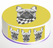 French Bulldog Scarf Cake Topper. Round Cake Topper. Edible Icing Sheet 19cm cake topper with FREE Banner!