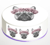 French Bulldog Roses Cake Topper. Round Cake Topper. Edible Icing Sheet 19cm cake topper with FREE Banner!