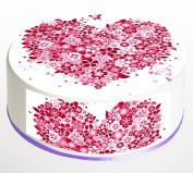 Heart flowers Cake Topper. Round Cake Topper. Edible Rice Paper Wafer 19cm cake topper with FREE Banner!