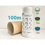 Refill foil 100m nappy sacks compatible with Sangenic Angelcare Tommee Tippee & Litter Locker II cassettes - equivalent to 14 Angelcare original refills + FREE TUBE 100 metres liner