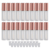 BQLZR Rose Gold 1.2ml Empty Plastic Clear Lip Gloss Tubes Lip Balm Bottle Container Cosmetic Makeup Tools with Stopper Pack of 20