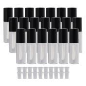 BQLZR Black 3.8ml Empty Clear Lip Gloss Tube Lip Balm Bottle Makeup Container Pack of 20