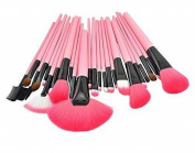 CHENGYIDA 24 PCS Professional Make Up Cosmetic Makeup Brushes Kit Set Pink+Pouch Case Bag