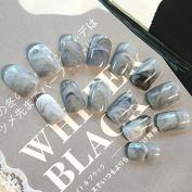 EchiQ Sexy Grey Grey Marble Texture Glossy Acrylic Full False Nails Nail Art Tips Top Short