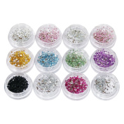 Rhinestones Round 1.2 mm in Storage Containers 2600 Pieces 12 Containers Stones Sorted by Colour