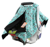 Dear Baby Gear Carseat Canopy, Teepees on Blue, Black Minky