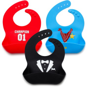Kids N' Such Baby Bibs for Boys 3 Pack - 100% Food Grade Silicon - Waterproof with Food Catcher - Easy Clean - Anti Bacterial, Anti Microbial, Dishwasher Safe - Cute Designs for Your Baby Boy