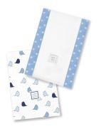 SwaddleDesigns Baby Burpies, Set of 2 Cotton Burp Cloths, Blue Little Chickies