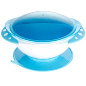 Kidsmile Baby Stay Put Suction Feeding Bowl and Plate Set, Non-Slip Suction Bowl and Snap-In Divided Plate and Tight Sealing Lid, Keep Food Warm in Travel, 2 Compartments On Plate for Food, Blue