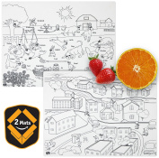 Kids Placemats silicone colouring non slip educational washable reusable dishwasher-safe BPA-free placemats - City and Sunnyday : by HEXATAL