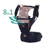 Baby Carrier Navy Sling Backpack - 2017 New Design On Back Baby Carrier Backpack For Kids, Toddlers, Infants, New Dads and Mums, Including Removable Hood Side Pocket and 2 Cotton Baby Bibs