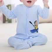 M-Egal Newborn Boy's Blue Babys Cotton Footed Sleeper Pyjamas Long Sleeved One Piece Garment 10-12 months