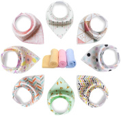YOOFOSS Baby Bandana Drool Bibs Scarves Unisex 8 Pack Gift Set for Teething and Drooling, 100% Organic Cotton, Soft and Absorbent