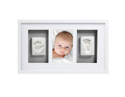Pearhead Babyprints Newborn Baby Handprint and Footprint Deluxe Wall Photo Frame & Impression Kit with Grey Mat, White
