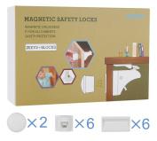 Child Safety Locks, HUIRUI Baby Magnetic Cabinet Locks & Drawer Locks, 3M Adhensive Tape Installation, No Screws or Drilling Needed, Package Includes 6 Locks + 2 Keys