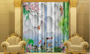 KKLL Flowers 3D stereo Polyester Blackout Window Drapes Home Decor drape Thick Curtain , 4 , wide 3.6x high 2.7