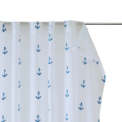 MIZONE KIDS Anchor 100% Polyester High-end Window Sheer, Embroidery, Rod Pocket and back tab, 130cm x 210cm White/Blue