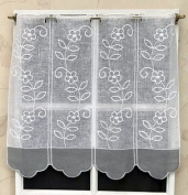"""Curtain Brise Bise 32 cm Embroidered Muslin White and Grey Ref. 14931.57gr. Please be an important thing. 1 unit = 15 cm in Width. If you are why buy one, get one piece curtain only 15 """"Wide."""