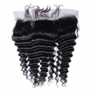 Beata Hair Full Lace Frontal Closure 33cm x 10cm Deep Wave with Baby Hair Lightly Bleached Knots