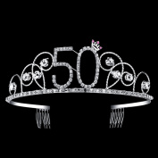 BABEYOND Crystal Tiara Birthday Crown Princess Crown Hair Accessories Silver Diamante Happy 50th Birthday