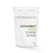Advanced Organic Coconut Hemp Coffee Scrub with Dead Sea Salt - Professional Scrub Helps Tighten Skin, Reduces Cellulite, Improves Circulation, Promotes Healing of Dry & Damaged Skin - 225 grammes