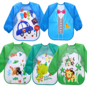 JT-Amigo Unisex Baby Boys Waterproof Sleeved Bib, Set of 5