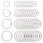 Outus 40 Pieces Round Flat Key Chain Rings Metal Split Ring for Home Car Keys Organisation, 3/ 10cm , 2.5cm , 3.2cm and 3.6cm , Silver