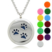 """Pets Locket Aromatherapy Diffuser Necklace/Lademayh 30mm Magnetic Stainless Steel Pendant/2pcs 24"""" Chain"""