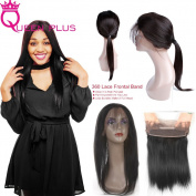 Queen Plus Hair Pre Plucked 360 Full Lace Band Frontal Cap Closure (22×4×2) Natural Hairline & Adjustable Strap Straight Weave 7A Brazilian Virgin Natural Black Human Hair