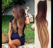 Thick One Piece Ombre Clip in Hair extensions Long Straight Synthetic Hairpieces (Col. Darkest brown/Dirty Blonde) DL