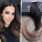 Ugeat 60cm 50g Real Silky Straight Human Hair Extensions Tape Seamless Tape in Hair Extensions Balayage Ombre #1B Dip Dye Colour #4 with #27 for Women