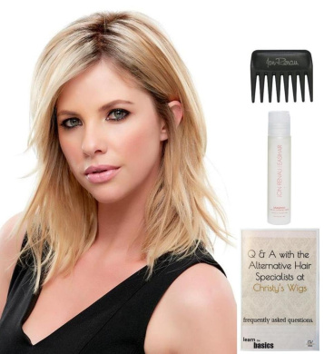 Bundle - 4 Items: Top Notch Hairpiece by Jon Renau, Christy's Wigs Q & A Booklet, 60ml Travel Size Synthetic Shampoo & Wide Tooth Comb Colour: 38