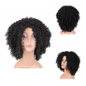 HAIR WAY Short Kinky Curly Wigs Heat Resistant Fibre Hair for Black Women Full Machine Made None Lace Glueless Synthetic Hair Wigs for Daily Wear #1b
