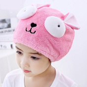 AUCH 1Pcs Adjustable Plush Cute Big Eyes Baby Hair Drying Hat Super Absorbent Towel Adjustable Infant Shower Bath Cap for Kids Boys Girls from 3 to 14 Yrs, Pink