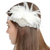 FAYBOX Vintage 1920s Flapper Headbands Gatsby Feather Headpieces WHT