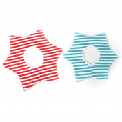 GS.Lee 360 Degree Six Star Waterproof Absorbent Terry Baby Bibs with Snaps, Stripe