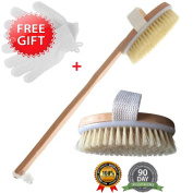 """The Best Dry Skin Body Brush With Free Wet Exfoliating Set & Cotton Travel Bag By Brooklyn Beauty 16"""" Wooden Brush With Extra Long Bristles"""